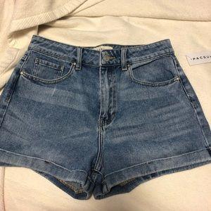 Ocean blue denim mom shorts